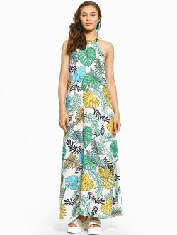 KOOVS Tropical Palm Print Maxi Dress