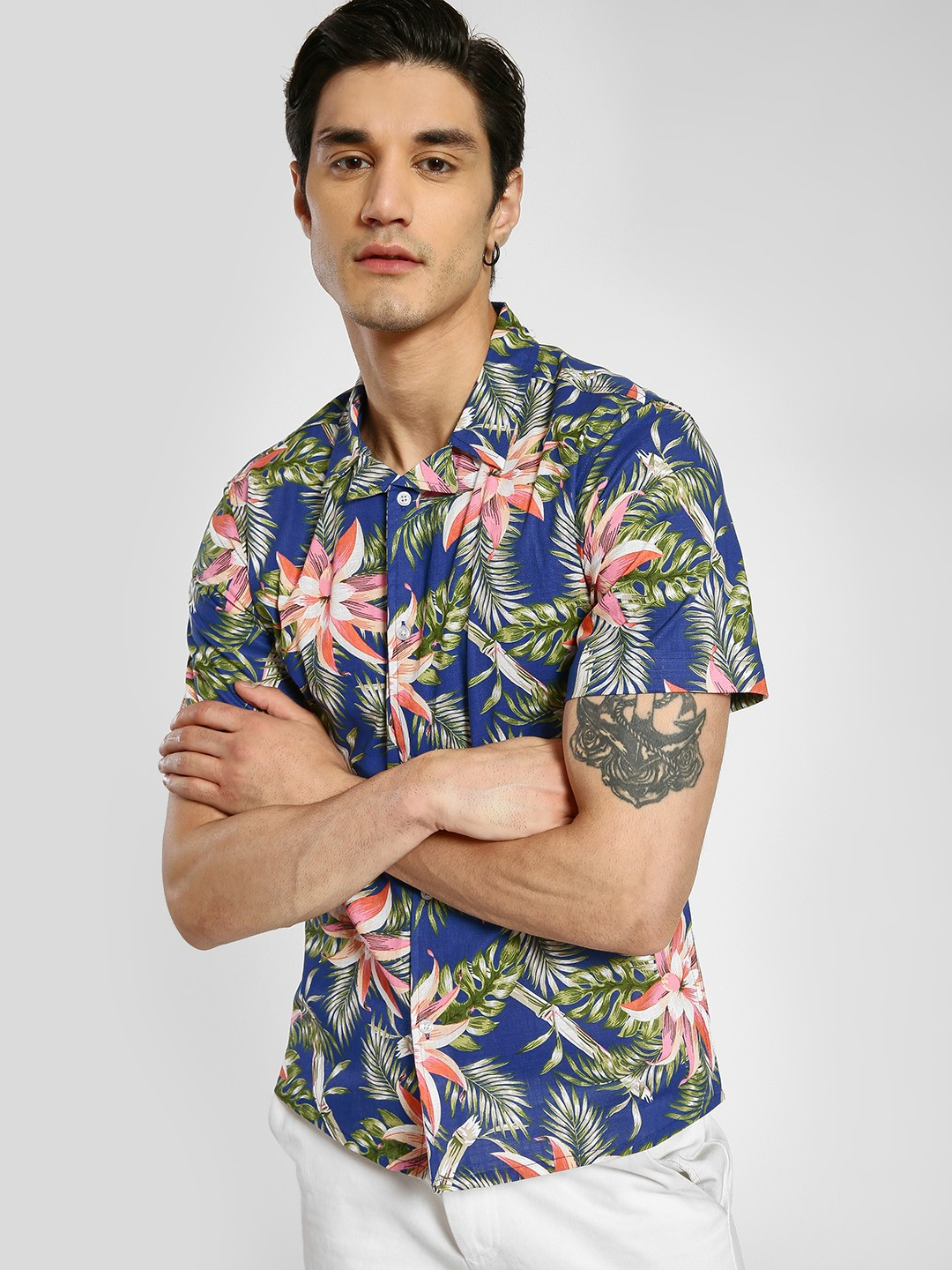 TRUE RUG Multi Tropical Print Cuban Collar Shirt 1