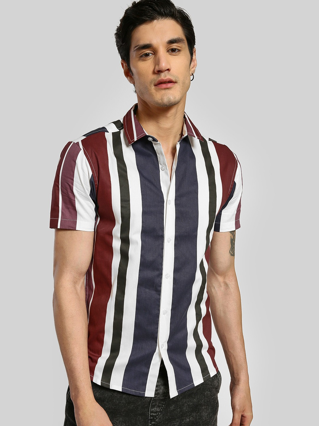 TRUE RUG Multi Colour Block Vertical Stripe Shirt 1