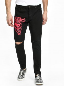 TRUE RUG Joker Print Ripped Slim Jeans