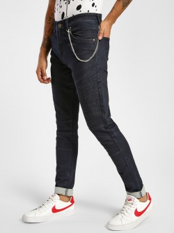 TRUE RUG Detachable Chain Dark Wash Slim Jeans