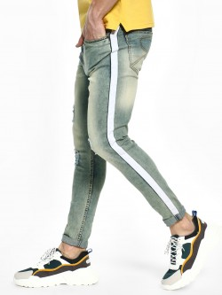 TRUE RUG Bleach Wash Side Tape Skinny Jeans