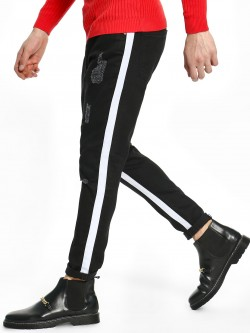 TRUE RUG Side Tape Distressed Skinny Jeans