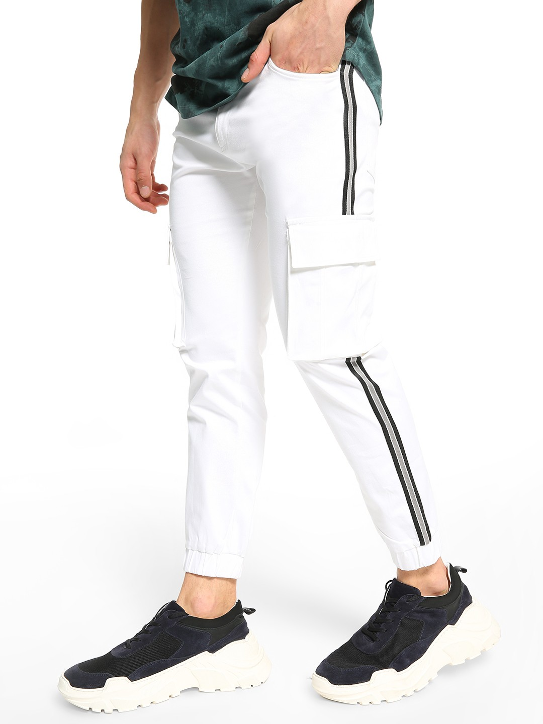 TRUE RUG White Contrast Side Tape Utility Joggers 1