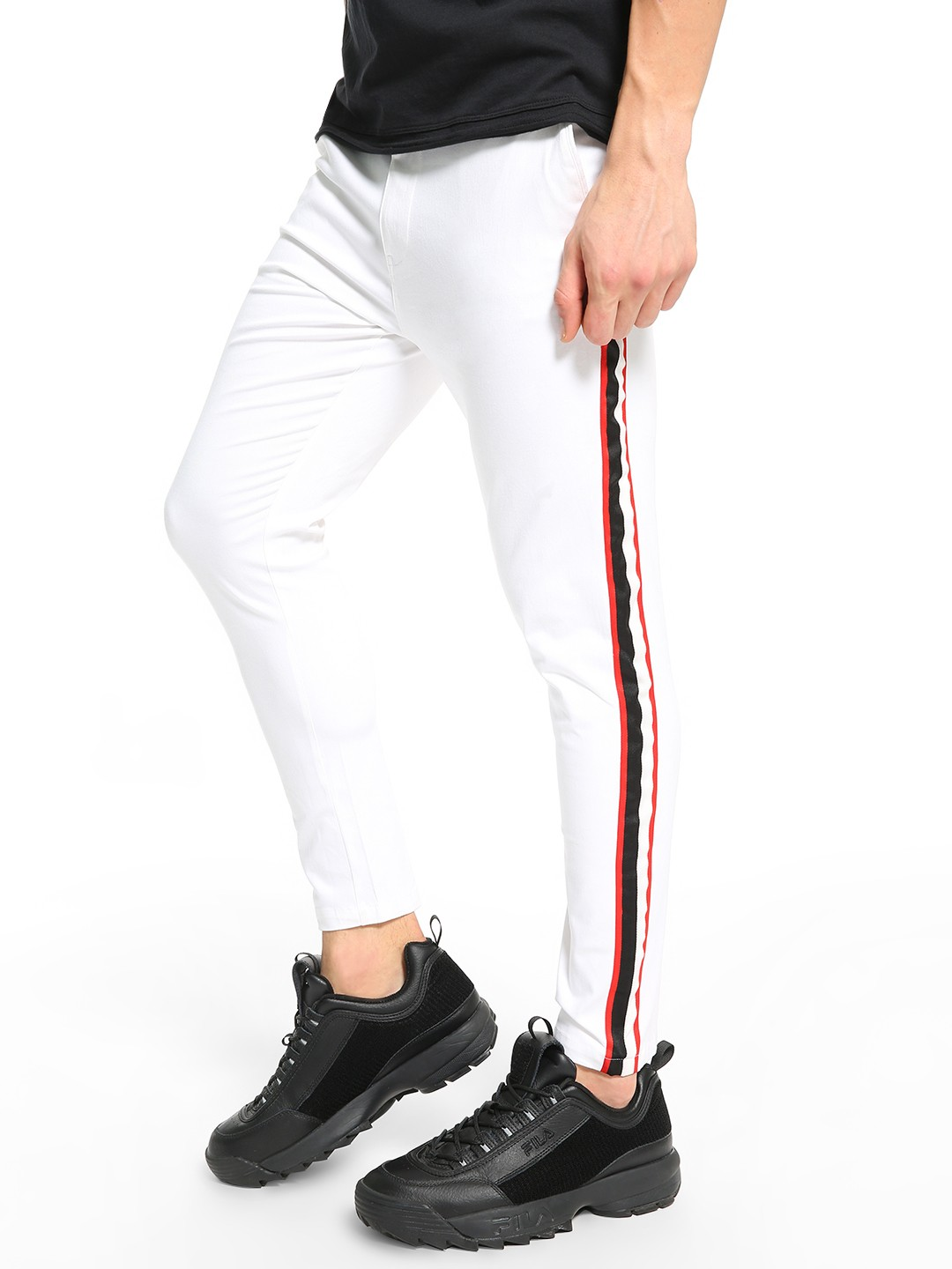 TRUE RUG White Contrast Side Stripe Chinos 1