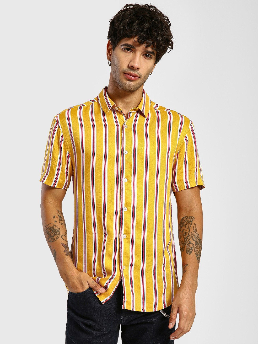 TRUE RUG Yellow Vertical Stripe Short Sleeve Shirt 1