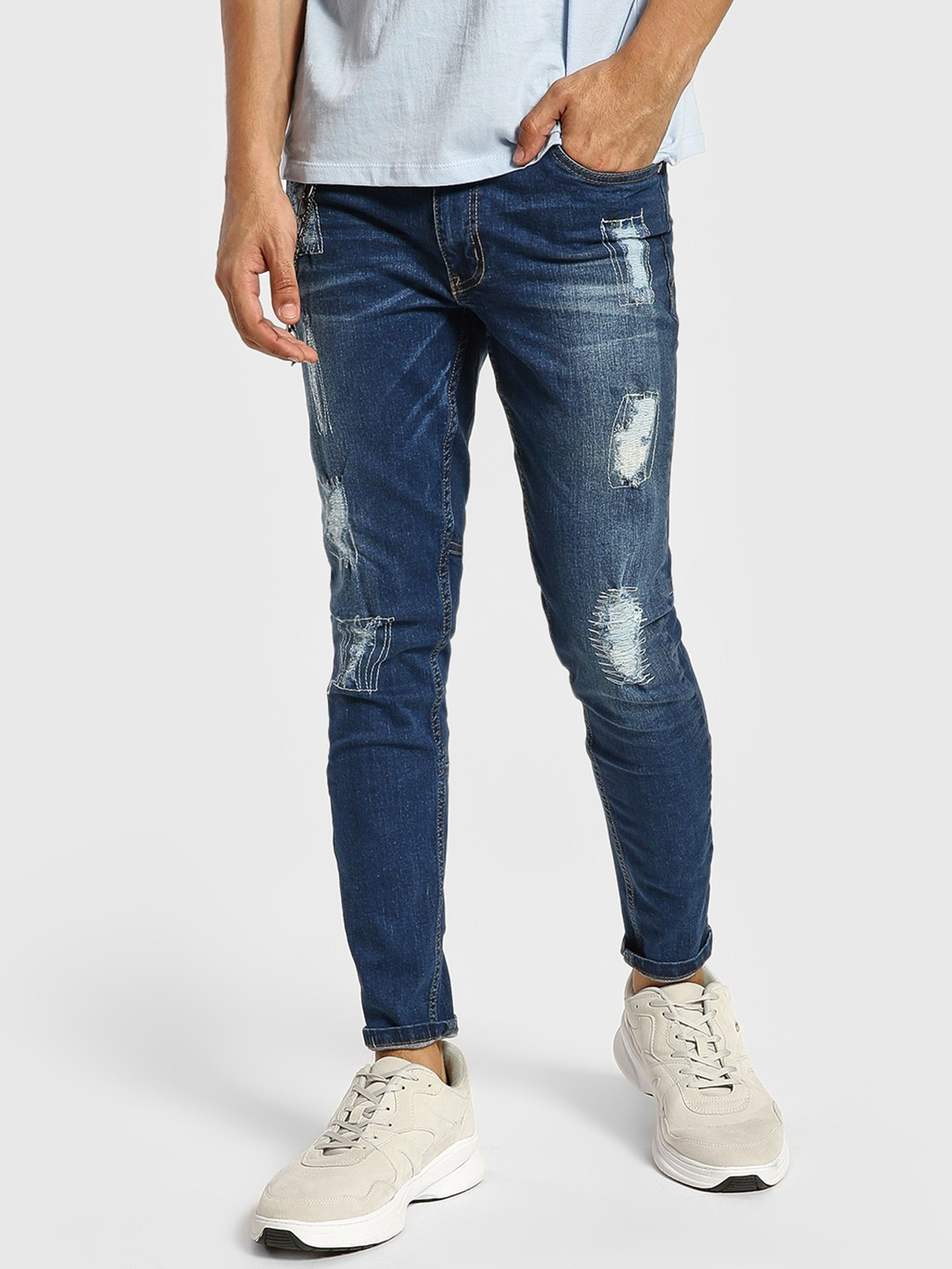 IMPACKT Blue Distressed Light Wash Skinny Jeans 1