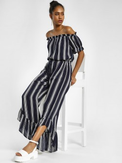 MIWAY Multi Stripe Bandeau Neck Jumpsuit