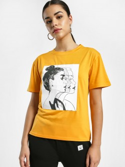 EmmaCloth Sketch Face Placement Print T-Shirt