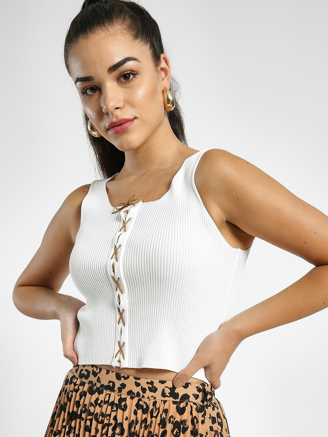 EmmaCloth White Ribbed Cross Lace-Up Crop Top 1
