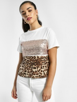 EmmaCloth Animal Sequin Print T-Shirt