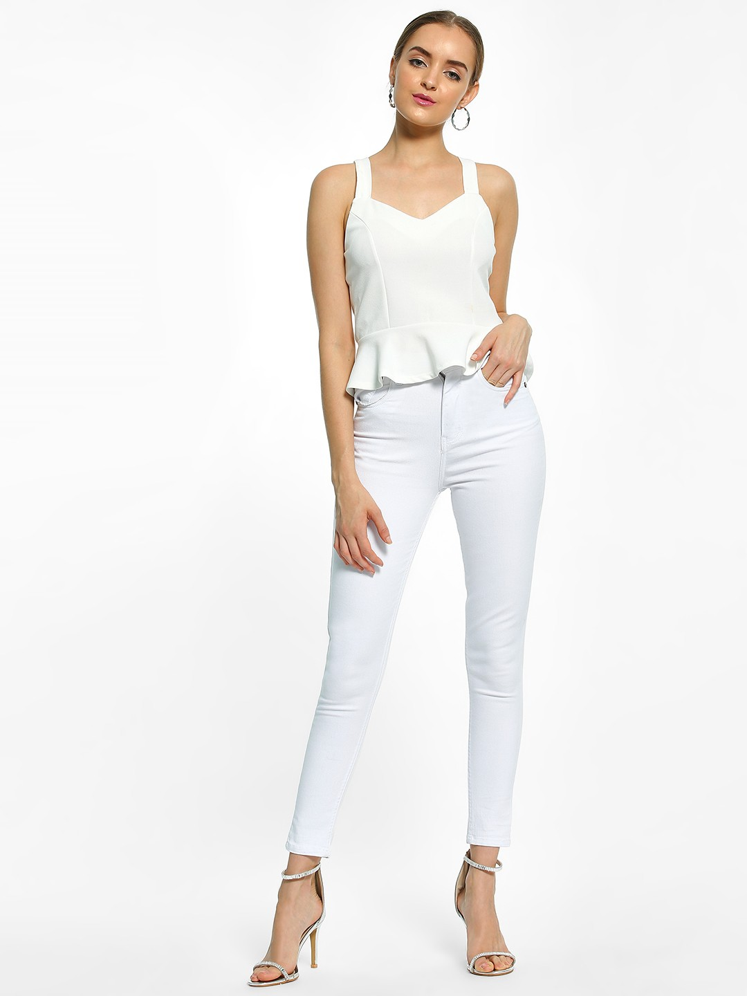 K Denim White KOOVS Basic High-Waist Skinny Jeans 1