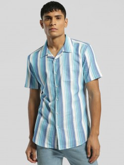 Spring Break Vertical Stripe Cuban Collar Shirt