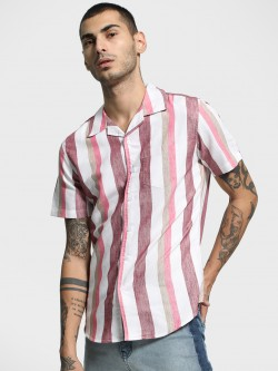 Spring Break Multi Vertical Stripe Cuban Collar Shirt