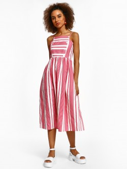 KOOVS Multi-Stripe Buttoned Midi Dress