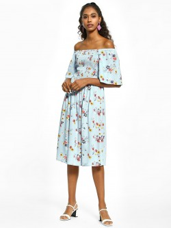 KOOVS Floral Print Off-Shoulder Dress
