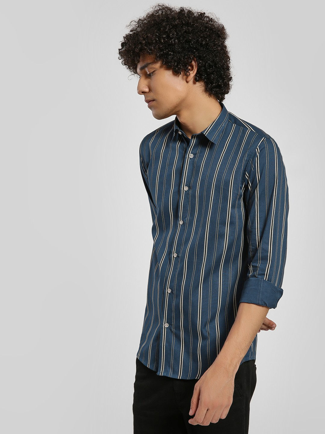 Green Hill Blue Vertical Stripe Long Sleeve Shirt 1