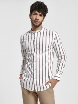 Green Hill Vertical Stripe Band Collar Shirt