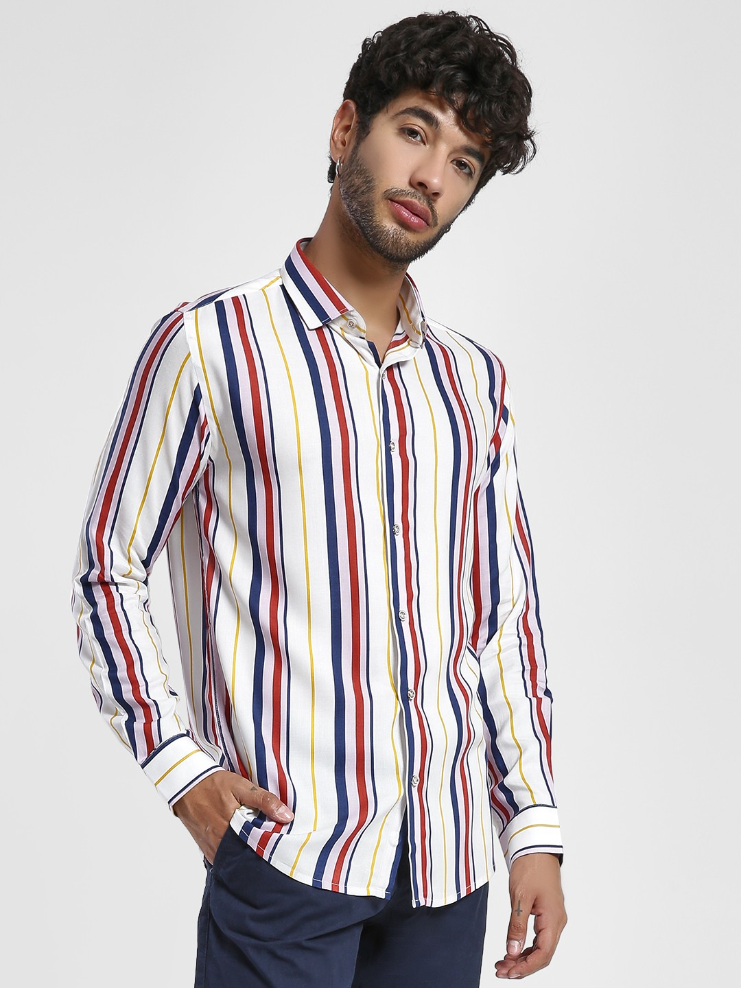 Green Hill White Multi Stripe Casual Shirt 1