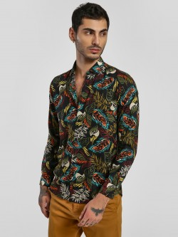 Green Hill Tropical Print Long Sleeve Shirt