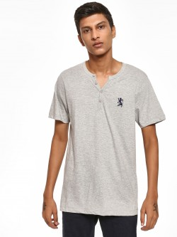 Giordano Embroidered Logo Henley Neck T-Shirt