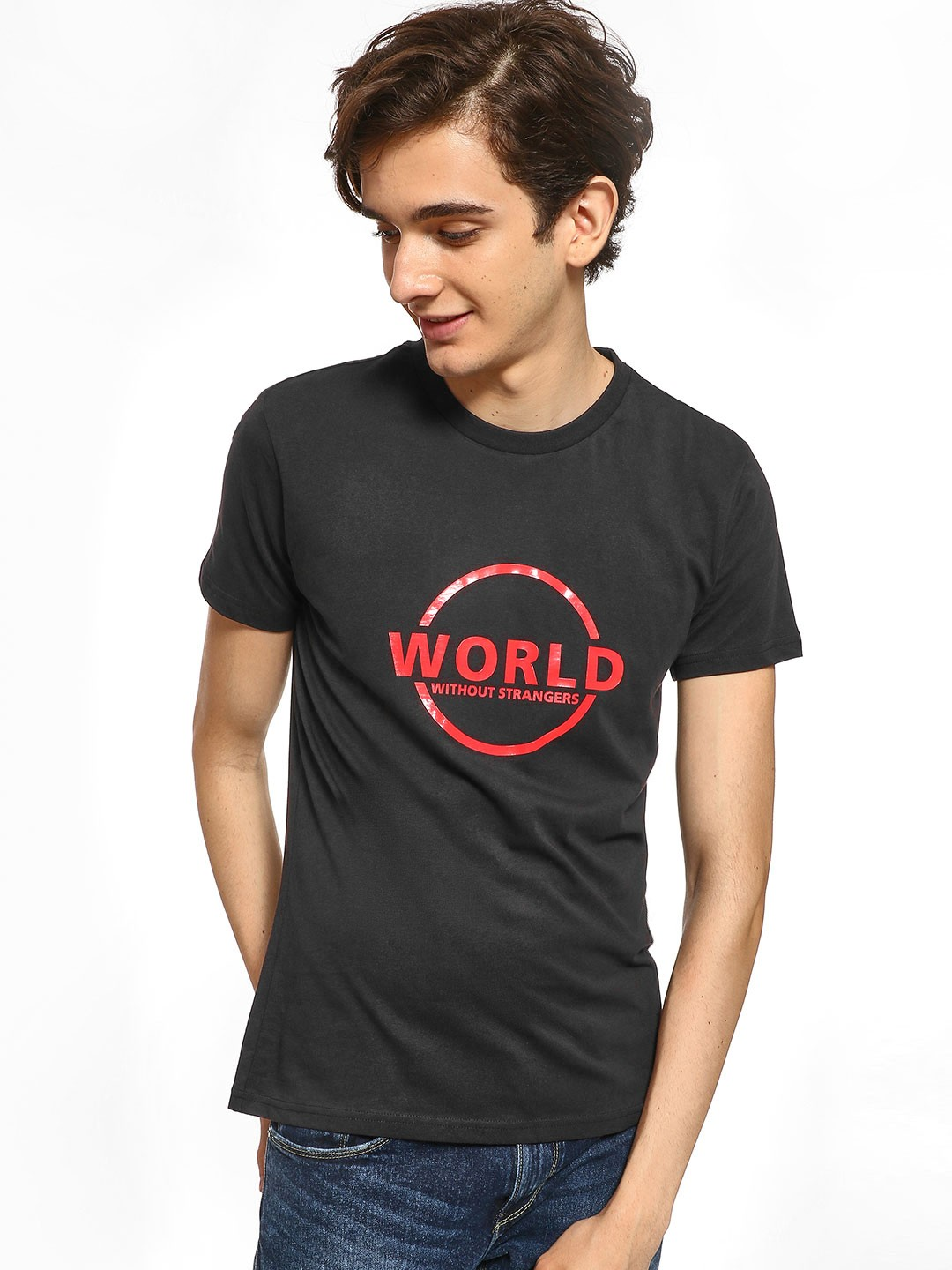 Giordano Black Slogan Print Round Neck T-Shirt 1