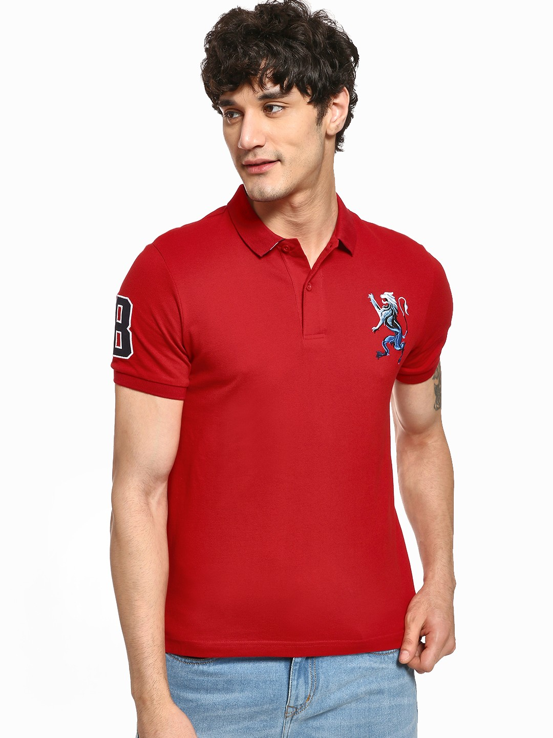 Giordano Red 3D Lion Patch Polo Shirt 1