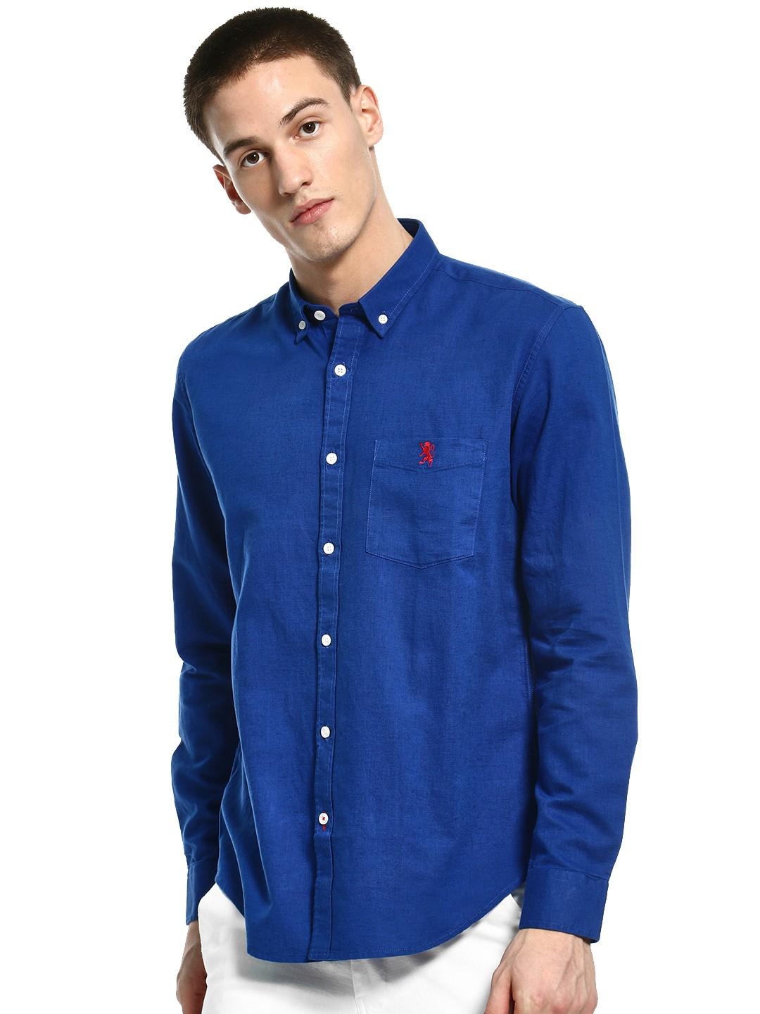 Giordano Blue Linen Blend Long Sleeve Shirt 1