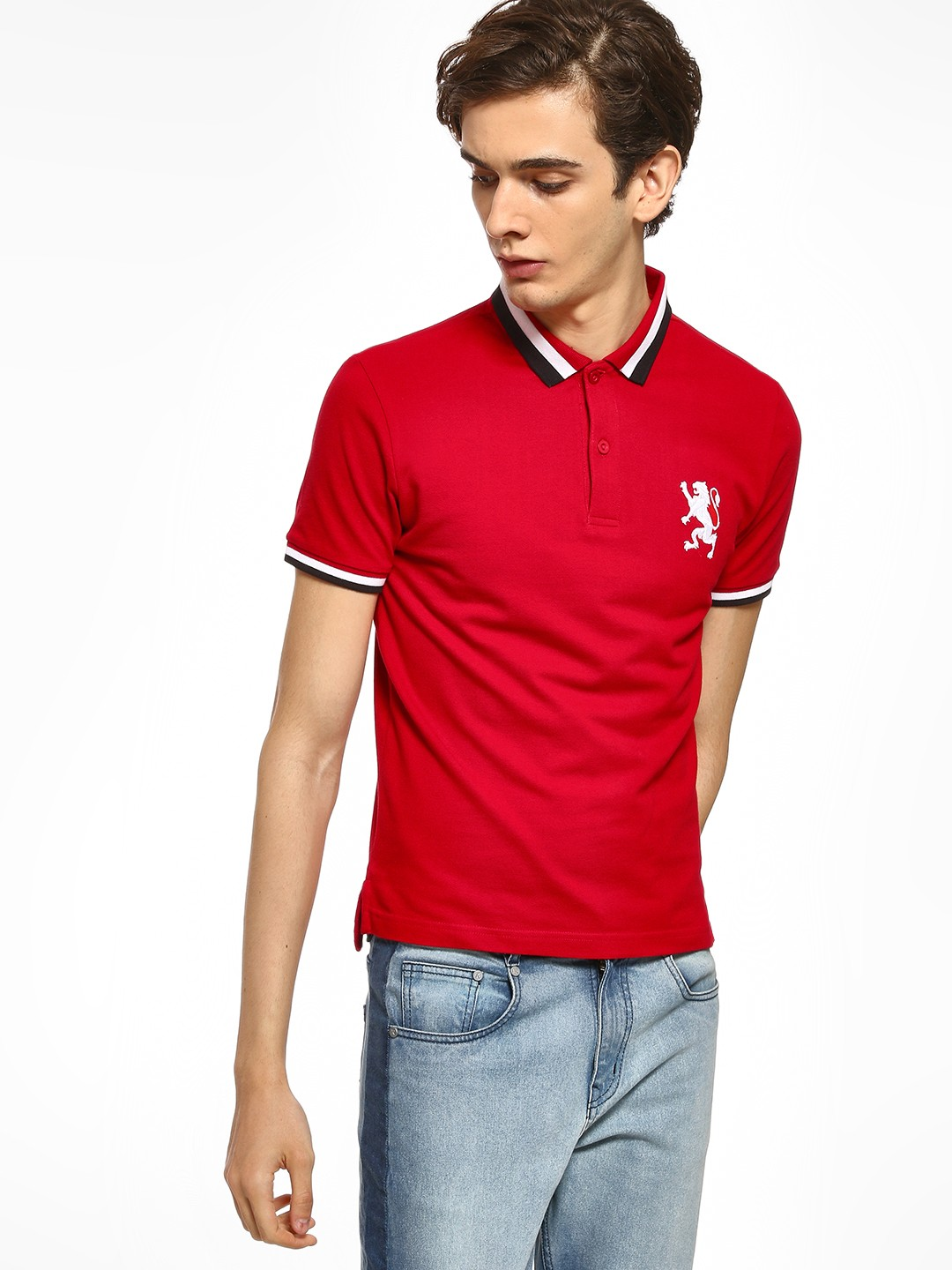Giordano Red Embroidered Logo Polo Shirt 1