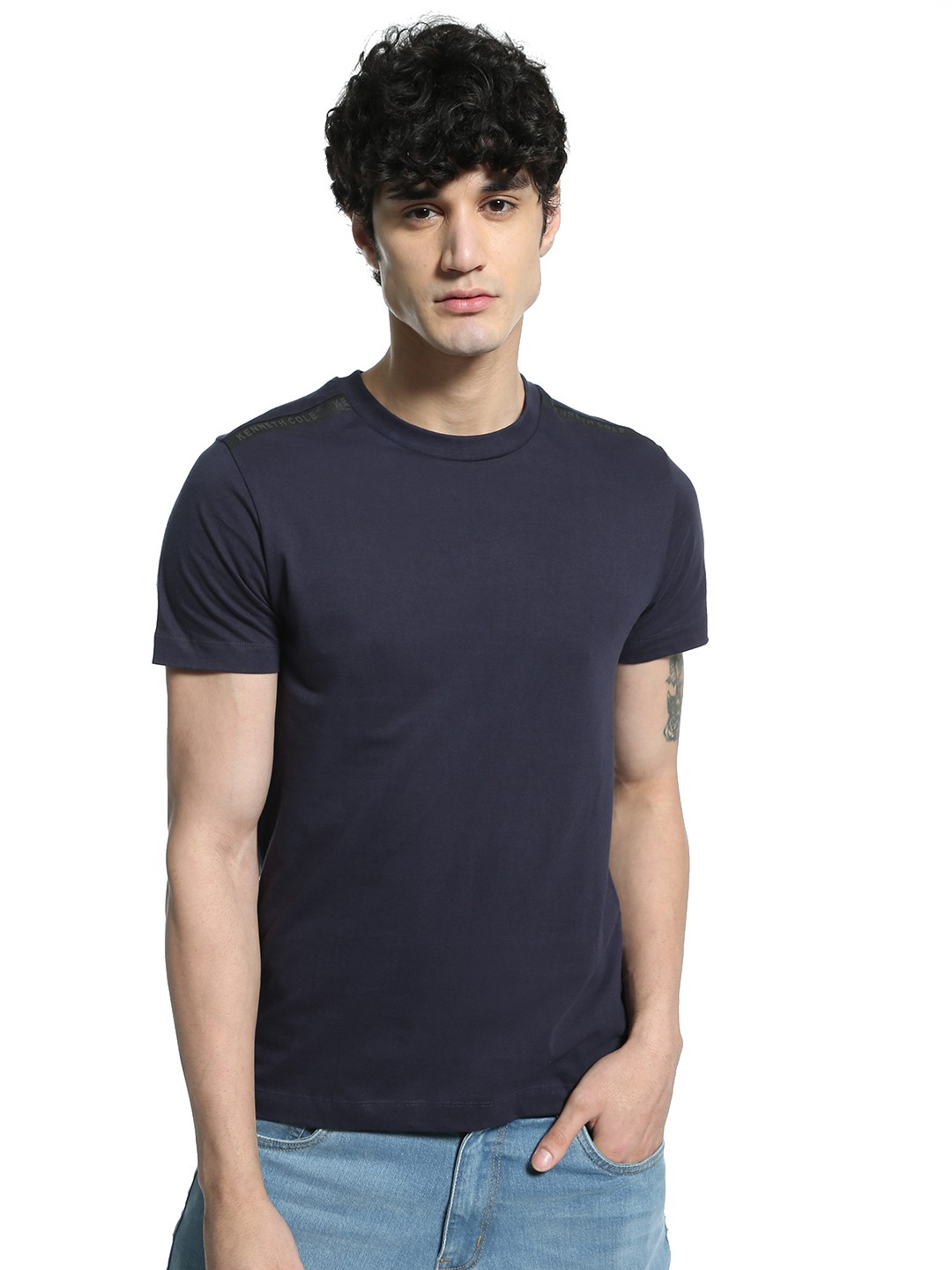 Kenneth Cole Blue Shoulder Logo Embossed T-Shirt 1