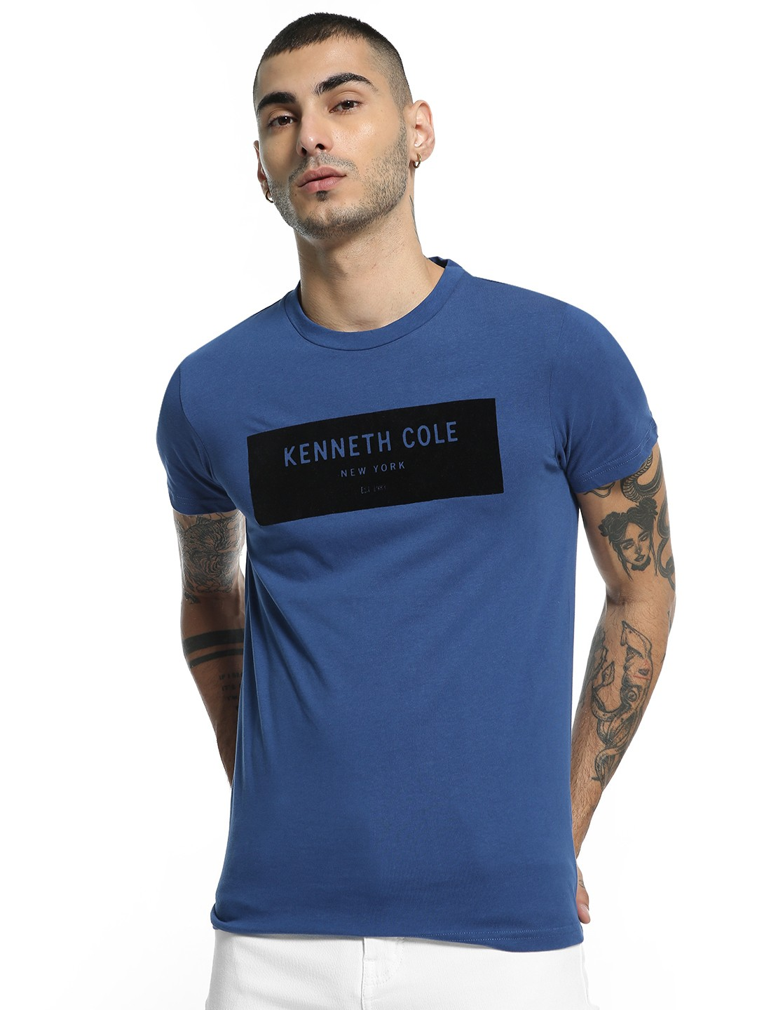 Kenneth Cole Blue Velour Placement Logo T-Shirt 1