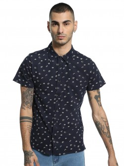 Kenneth Cole Flower Print Knit Casual Shirt