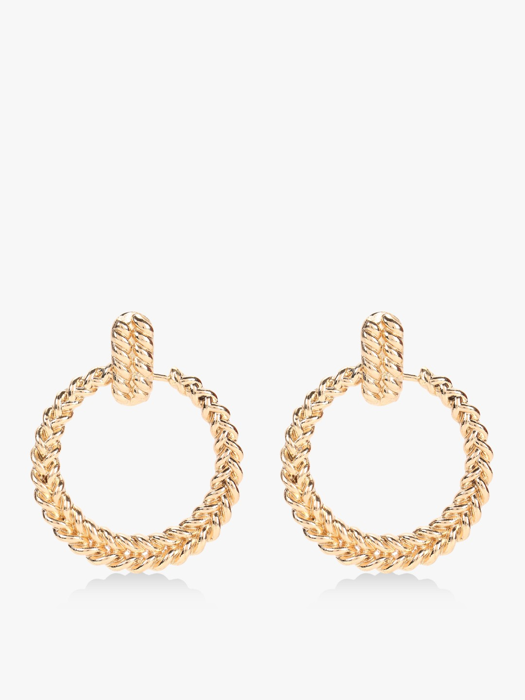Style Fiesta Gold Gold Textured Concentric Earrings 1