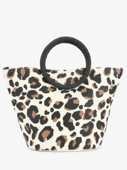 New Look Leopard Print Straw Tote Bag