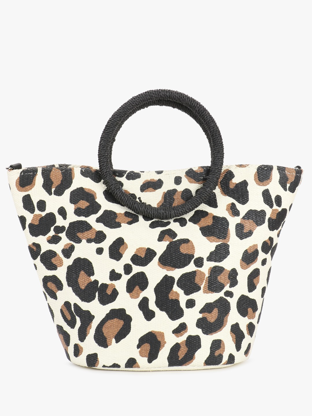 New Look Brown Leopard Print Straw Tote Bag 1