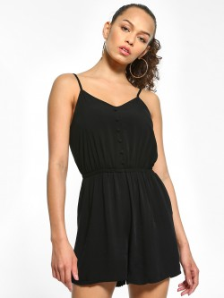 New Look Basic Button-Front Strappy Playsuit