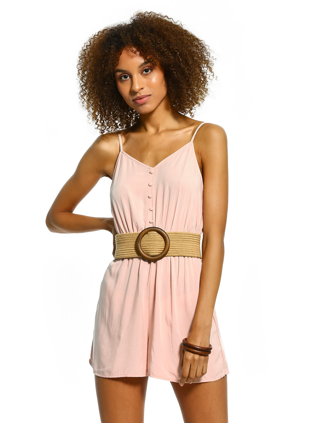 New Look Pink Basic Button-Front Strappy Playsuit 1