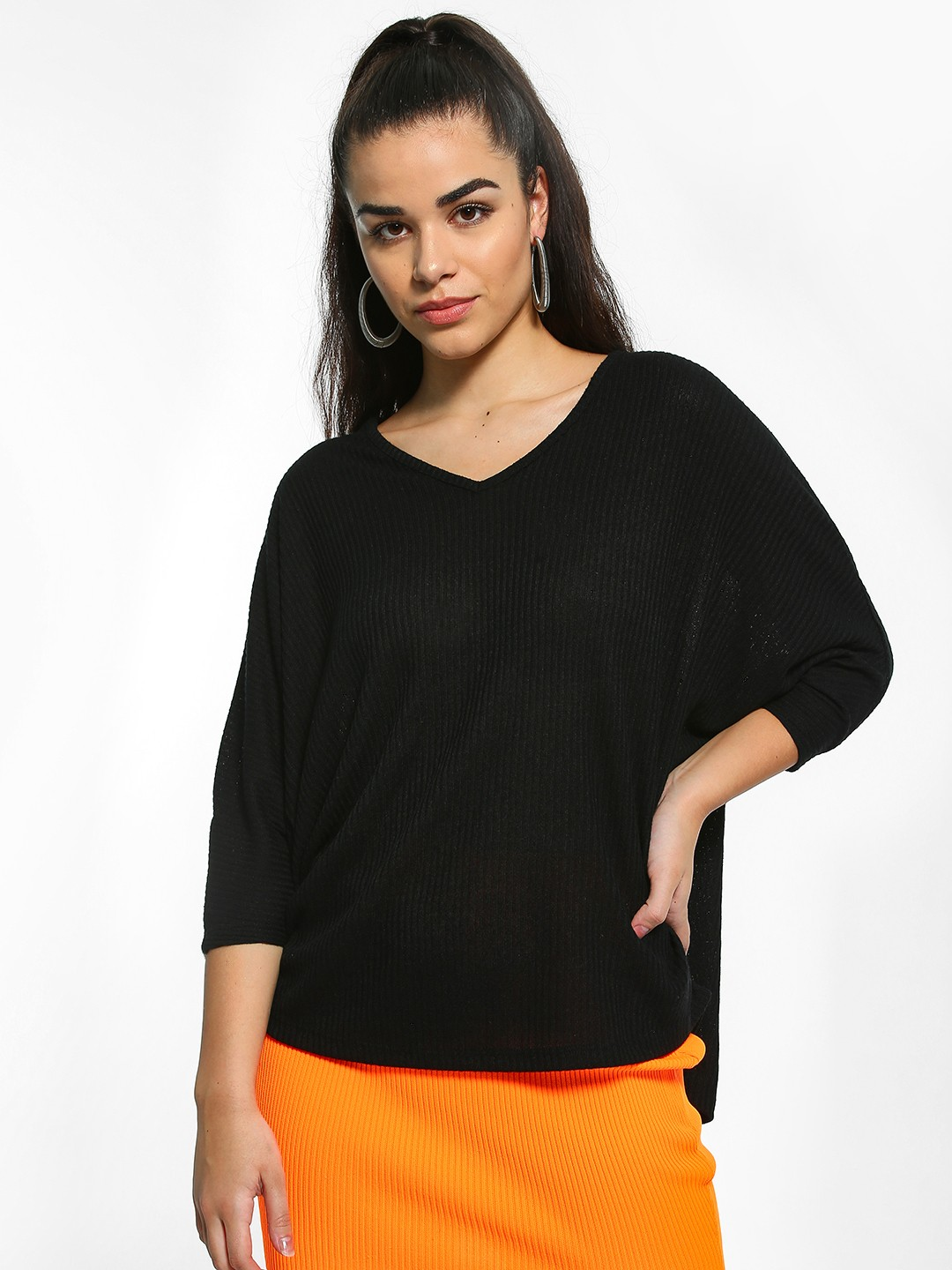 New Look Black Basic Ribbed Oversized Top 1