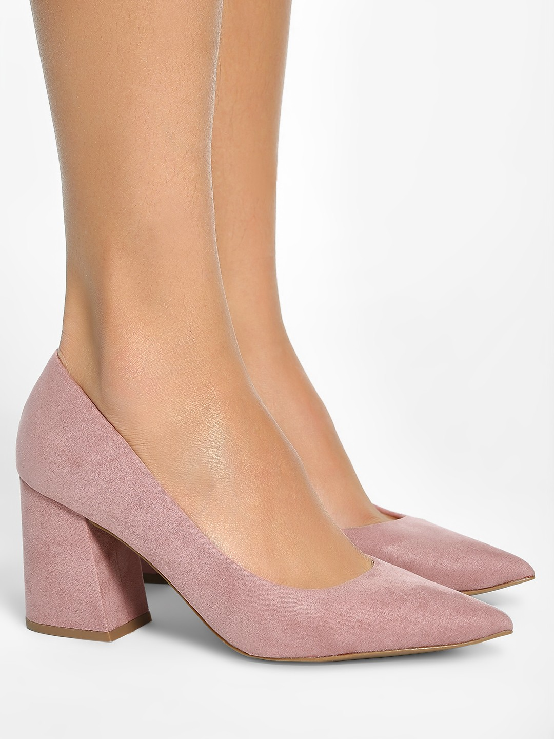 New Look Pink Suede Flared Heel Pumps 1