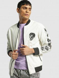 KOOVS Perforated Skull Print Bomber Jacket