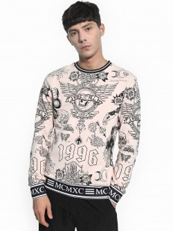 KOOVS All Over Tattoo Print Sweatshirt