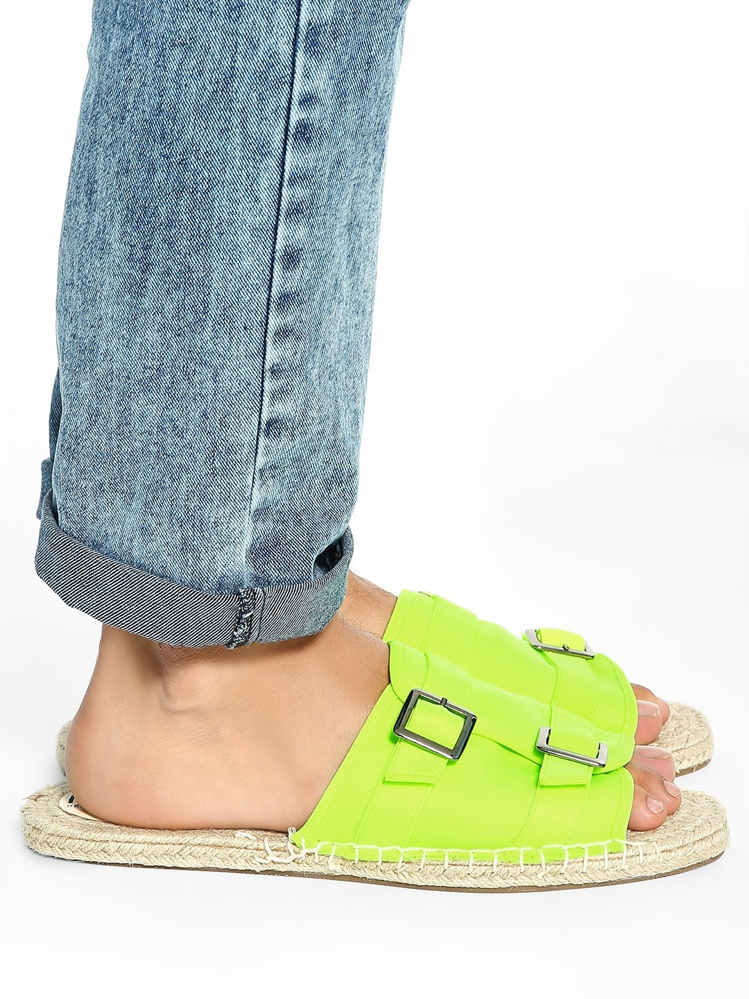 KOOVS Green Espadrille Sole Buckle Sandals 1