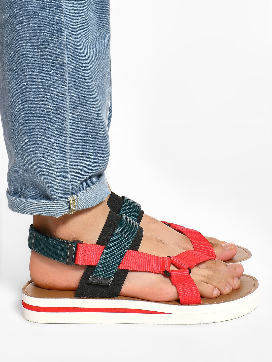 KOOVS Red Colour Block Double Strap Sandals 1