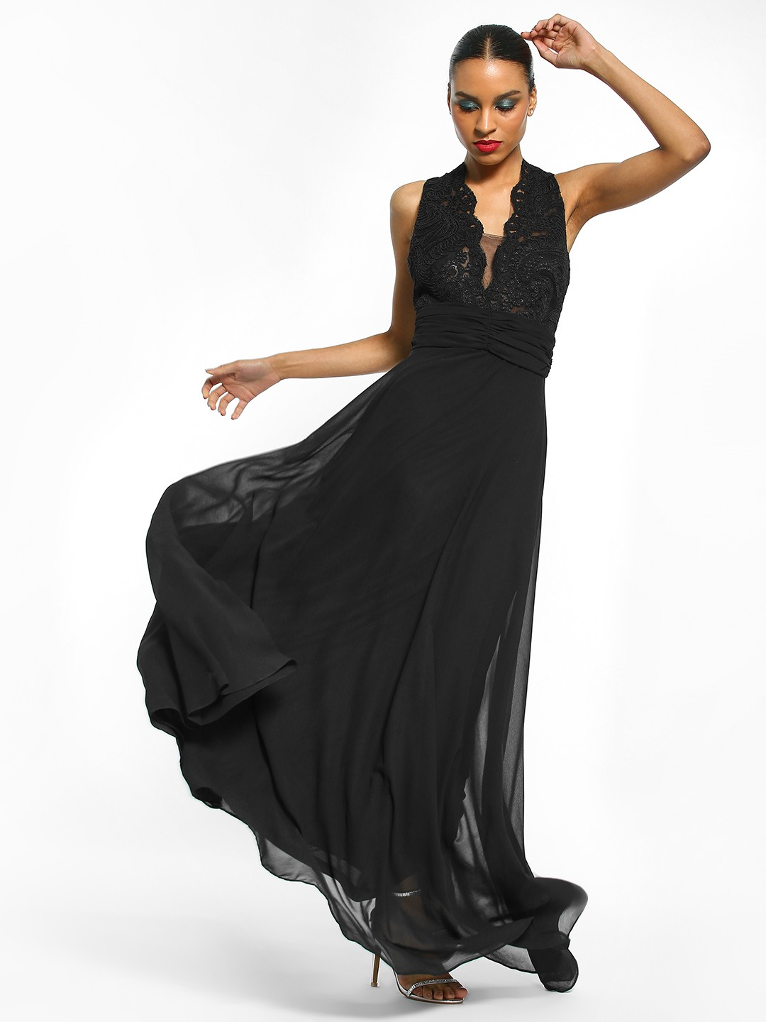Flam Mode Black Crochet Lace Maxi Dress 1