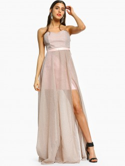 Flam Mode Shimmer Bandeau Front Split Maxi Dress