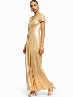 Flam Mode Thigh-High Split Metallic Maxi Dress