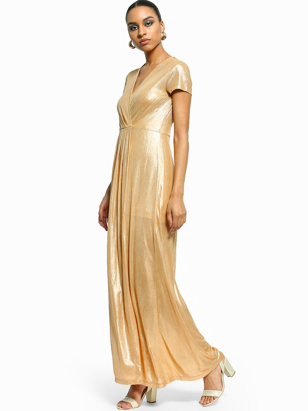 Flam Mode Gold Thigh-High Split Metallic Maxi Dress 1