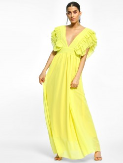 Flam Mode Ruffled Plunge Neck Maxi Dress