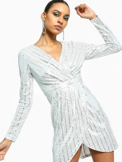 Flam Mode Mixed Sequin Stripe Mini Shift Dress