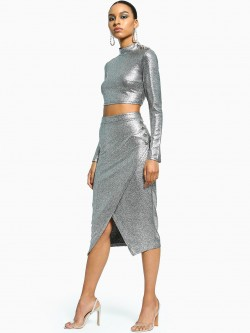 Flam Mode Metallic Front Split Co-Ord Set